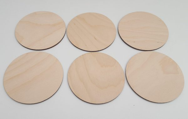 Pyrography or craft wooden round coasters