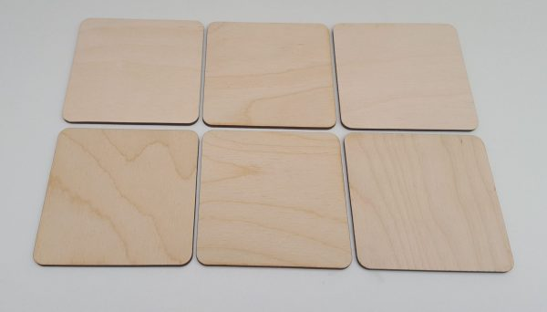Pyrography or craft wooden square coasters