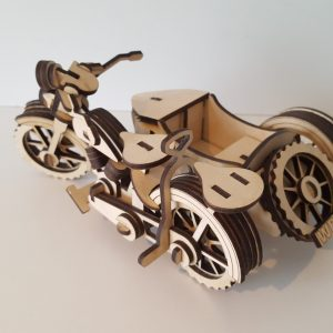 3D wooden motorcycle and sidecar model