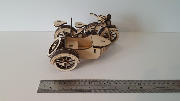 Wooden 3D Motorcycle and sidecar model