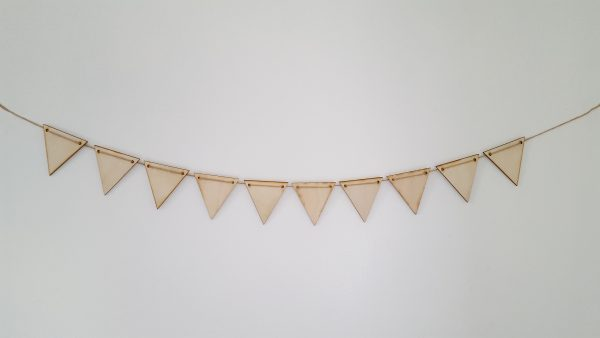 Pyrography or craft wooden bunting Triangle style