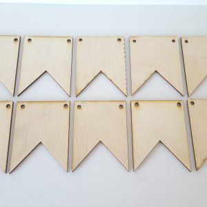 Pyrography or craft wooden bunting flag style