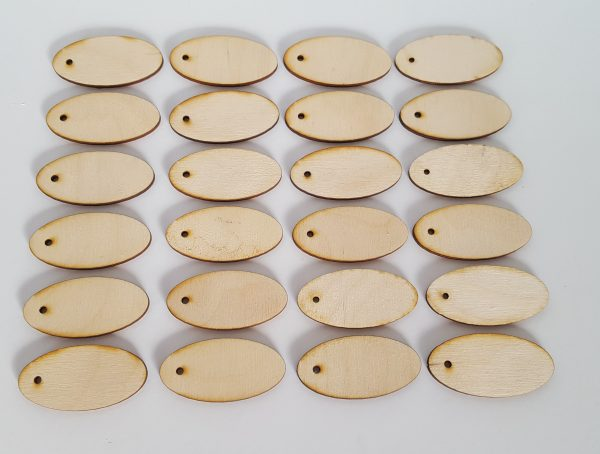Pyrography or craft wooden oval tags
