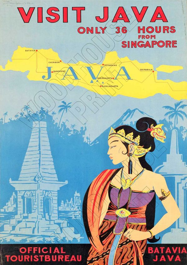 "Aluminium Retro Travel Sign - ""Visit Java"" MET004 1 MET004 1"