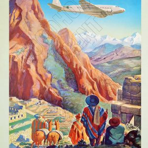 "Aluminium Retro Travel Sign - ""Peru of the Incas"" MET023 6 met023"