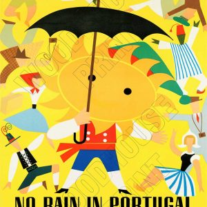 "Aluminium Retro Travel Sign - ""No Rain in Portugal"" MET027 6 met027"