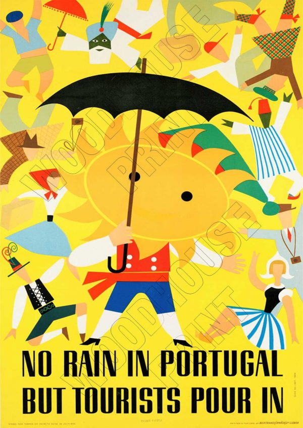 "Aluminium Retro Travel Sign - ""No Rain in Portugal"" MET027 1 met027"