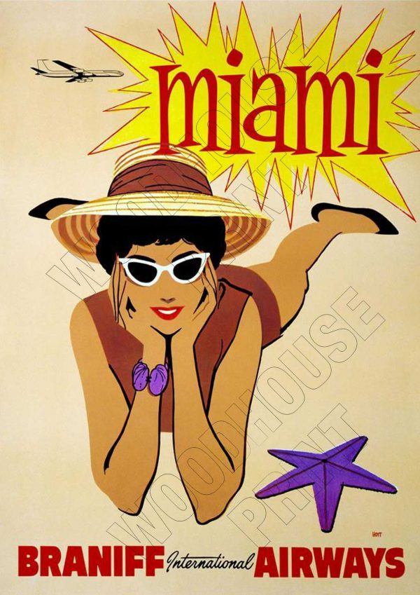 "Aluminium Retro Travel Sign - ""Miami - Braniff Airways"" MET033 1 met033"