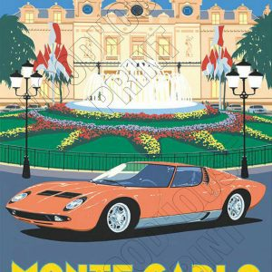 "Aluminium Retro Travel Sign - ""Monte Carlo"" MET042 3 met042 1"