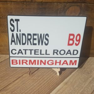 Birmingham City football street sign.