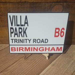 Aston Villa football street sign.